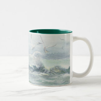 SURF GULLS & SEA by SHARON SHARPE Two-Tone Coffee Mug