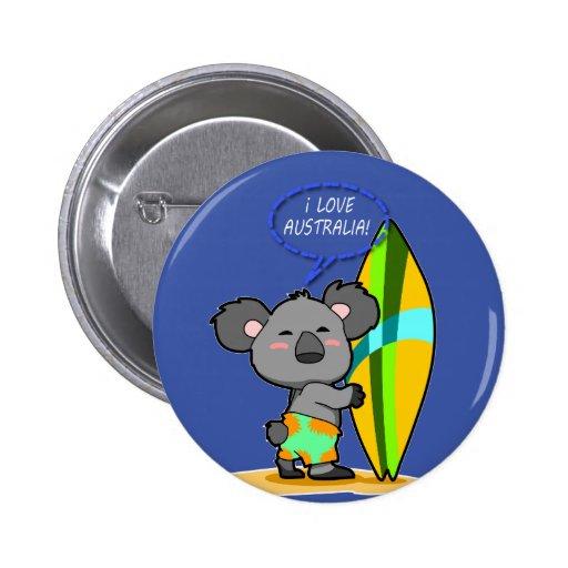 Surf Koala Bear Button