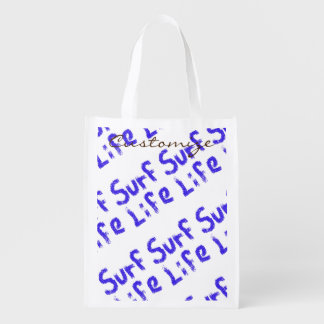 surf life spray painted on any color Thunder_Cove Reusable Grocery Bag
