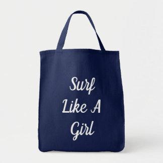 Surf Like A Girl Tote Bag