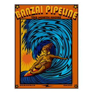 SURF NORTH SHORE HAWAII OAHU POSTER