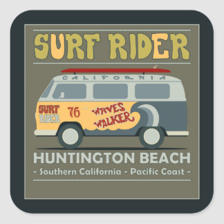 Surf Rider Huntington Beach Poster Square Sticker