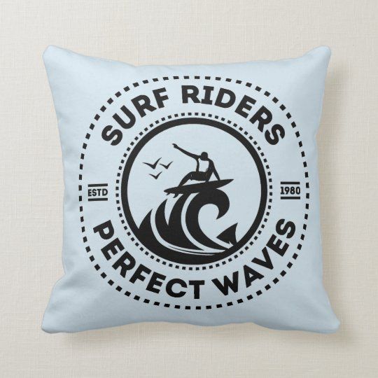 Surf Riders Retro Badge Throw Pillow