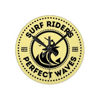 Surf Riders Retro Badge Wall Clock