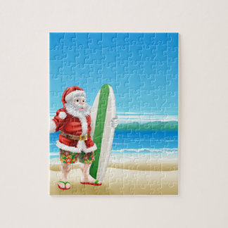 Surf Santa on the beach Puzzles