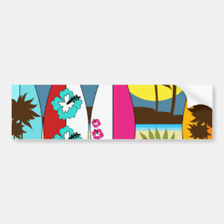 Surf Shop Surfing Ocean Beach Surfboards Palm Tree Bumper Sticker
