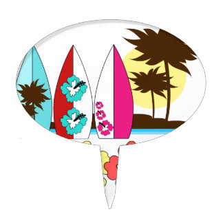 Surf Shop Surfing Ocean Beach Surfboards Palm Tree Cake Topper