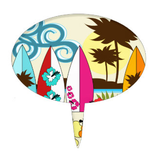 Surf Shop Surfing Ocean Beach Surfboards Palm Tree Cake Toppers