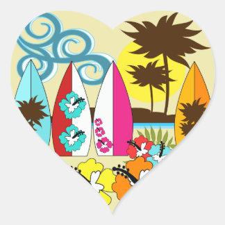 Surf Shop Surfing Ocean Beach Surfboards Palm Tree Heart Sticker