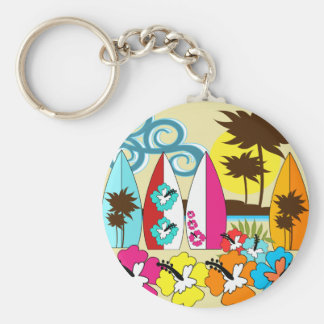 Surf Shop Surfing Ocean Beach Surfboards Palm Tree Basic Round Button Key Ring