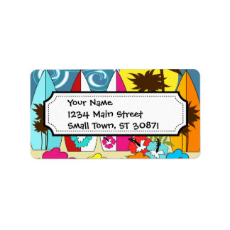 Surf Shop Surfing Ocean Beach Surfboards Palm Tree Label