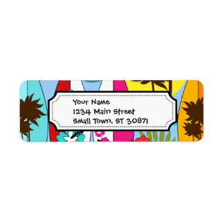 Surf Shop Surfing Ocean Beach Surfboards Palm Tree Return Address Label