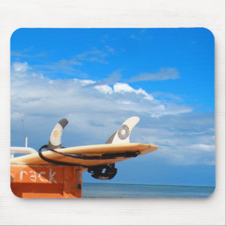 Surf surfboard rack surfing blue white clouds mouse pad