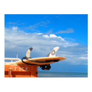 Surf surfboard rack surfing blue white clouds postcard