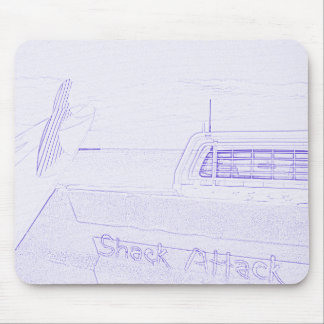 Surf surfboard shack attack surfing purple white mouse pad