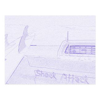 Surf surfboard shack attack surfing purple white postcard