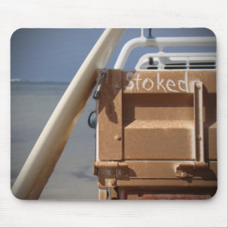 Surf surfboard stoked surfing blue brown mouse pad