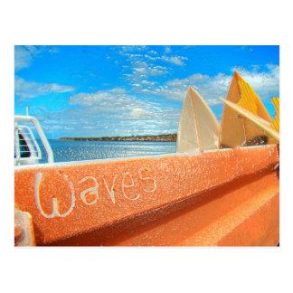 Surf surfboard waves surfing blue orange postcard