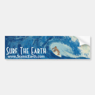 Surf The Earth Surfing Surfer Bumper Sticker Art