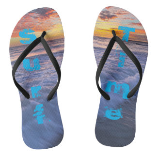 Surf Time! - Beach waves at sunset Thongs