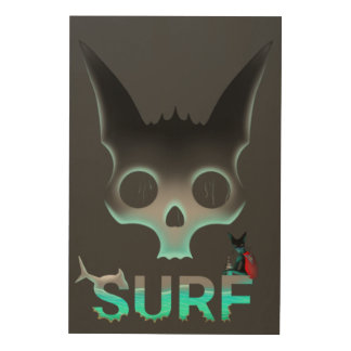 Surf Urban Graffiti Cool Cat Wood Print