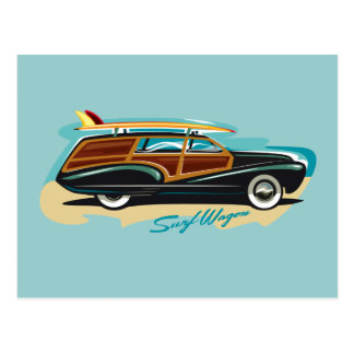 Surf Wagon Woody Postcard