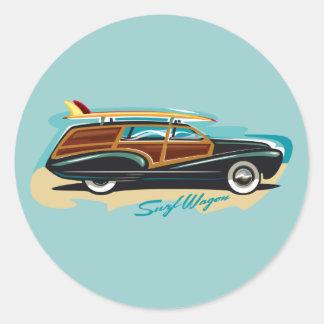 Surf Wagon Woody Round Sticker