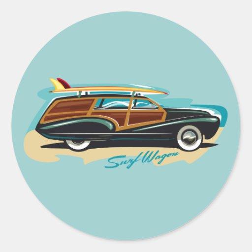 Surf Wagon Woody Sticker