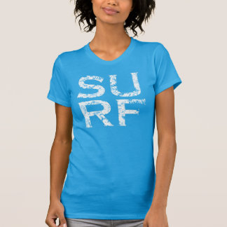 surf white distressed vintage square letter logo tee shirt