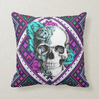 Surfabilly rose skull on aztec pixels pillow