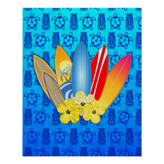 Surfboard and Hibiscus Flowers Posters