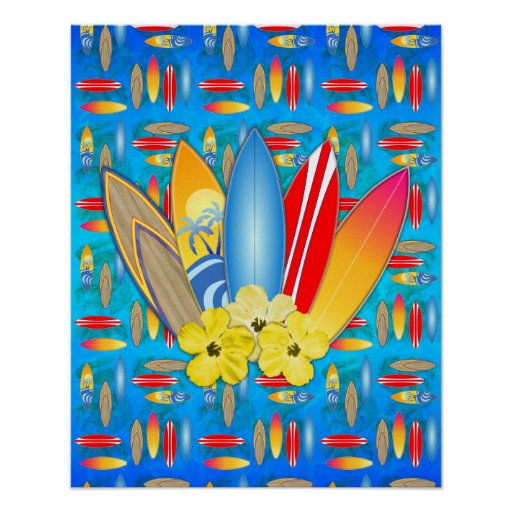 Surfboard and Hibiscus Flowers Poster