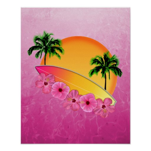 Surfboard and Hibiscus Flowers Print
