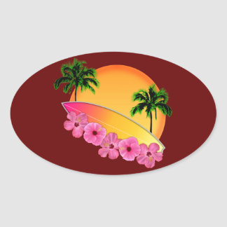 Surfboard and Hibiscus Flowers Oval Sticker