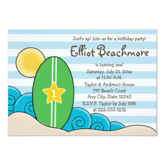 Surfboard Birthday Party for Kids (Any Age) Card