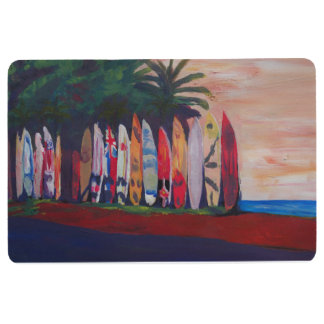 Surfboard fence floor mat