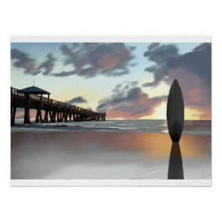 """Surfboard in the Morning"" by Jamie Scott Wilson Poster"