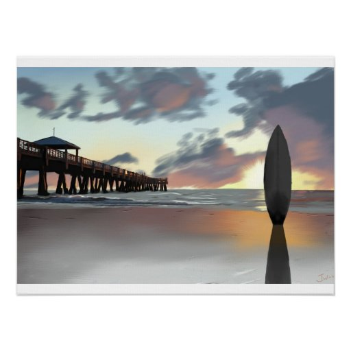 """""""Surfboard in the Morning"""" by Jamie Scott Wilson Poster"""