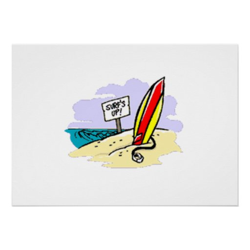 Surfboard on Beach Posters