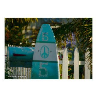 Surfboard Peace Mailbox Poster