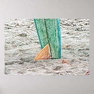 surfboard sketch on beach sea design print