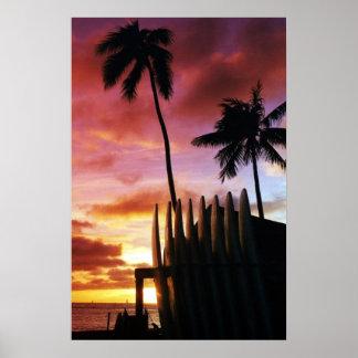 Surfboard Sunset Poster