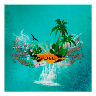 Surfboard with palm and flowers poster