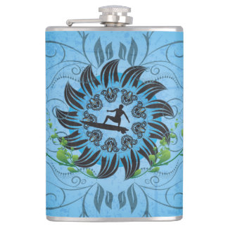 Surfboarder on blue background hip flask