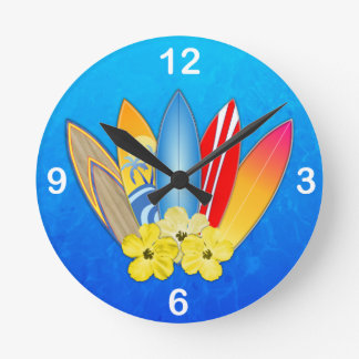 Surfboards And Hibiscus Round Clock