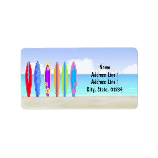 Surfboards Beach Address Labels