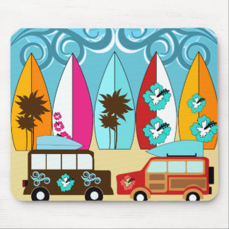 Surfboards Beach Bum Surfing Hippie Vans Mouse Pad