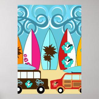 Surfboards Beach Bum Surfing Hippie Vans Poster