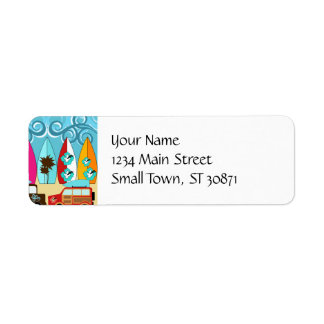 Surfboards Beach Bum Surfing Hippie Vans Return Address Label