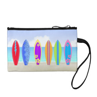 Surfboards Beach Key Coin Clutch Coin Wallets